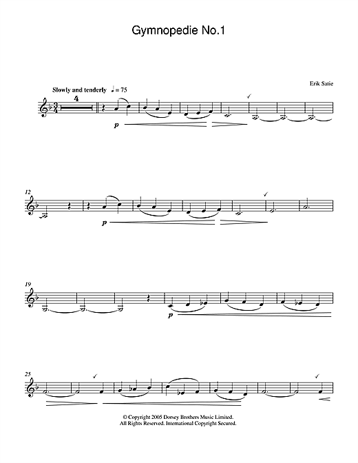 Erik Satie Gymnopedie No. 1 sheet music notes and chords