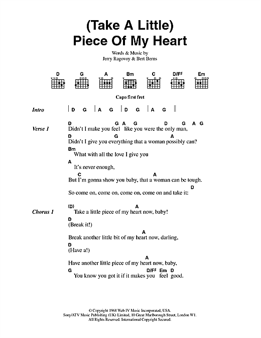 Erma Franklin (Take A Little) Piece Of My Heart sheet music notes and chords. Download Printable PDF.