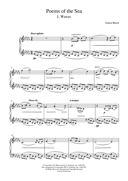 Ernest Bloch Waves (from Poems Of The Sea) sheet music notes and chords