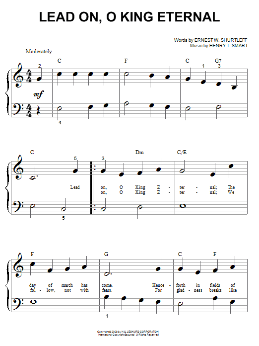 Ernest W. Shurtleff Lead On, O King Eternal sheet music notes and chords. Download Printable PDF.