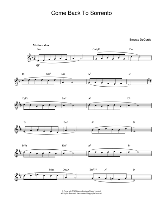 Ernesto DeCurtis Come Back To Sorrento sheet music notes and chords
