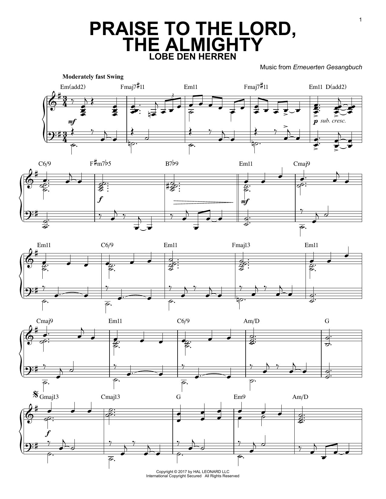 Erneuerten Gesangbuch Praise To The Lord, The Almighty [Jazz version] sheet music notes and chords. Download Printable PDF.