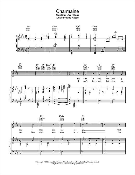 Erno Rapee Charmaine sheet music notes and chords. Download Printable PDF.