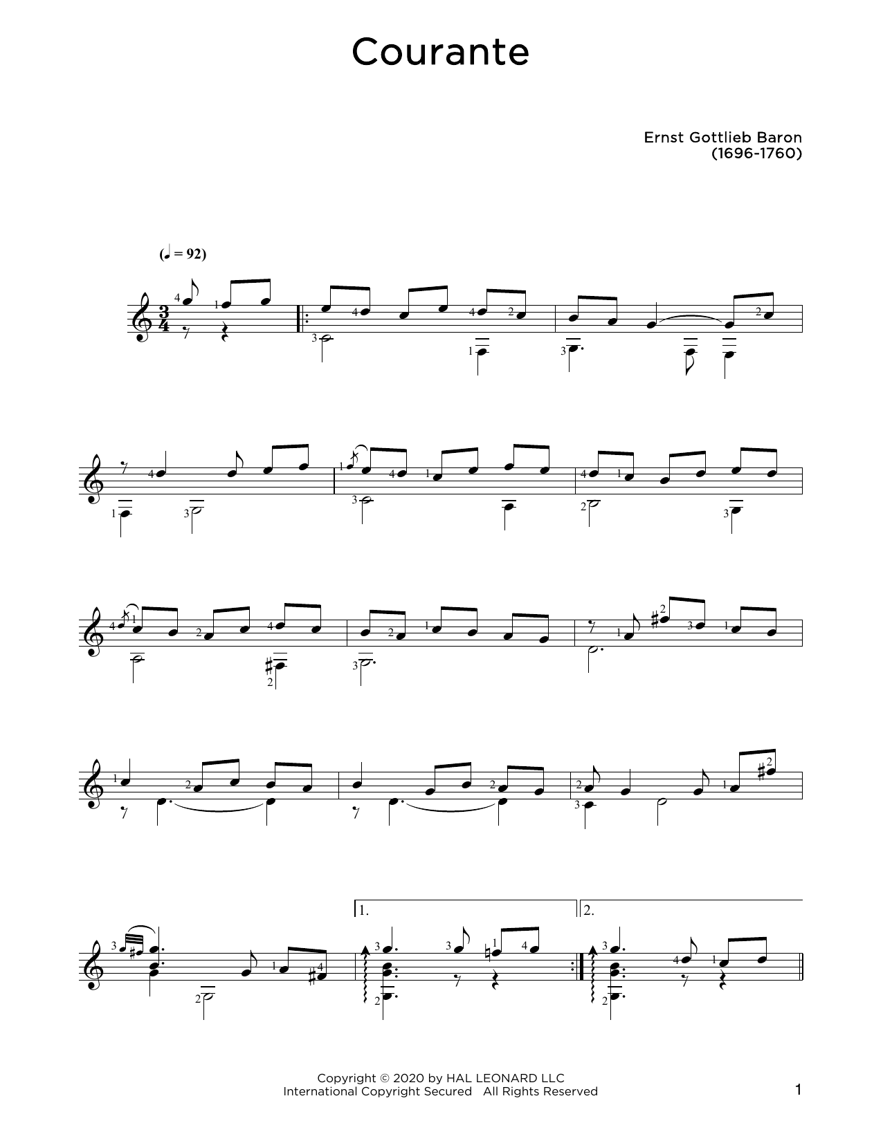 Ernst Gottlieb Baron Courante sheet music notes and chords. Download Printable PDF.
