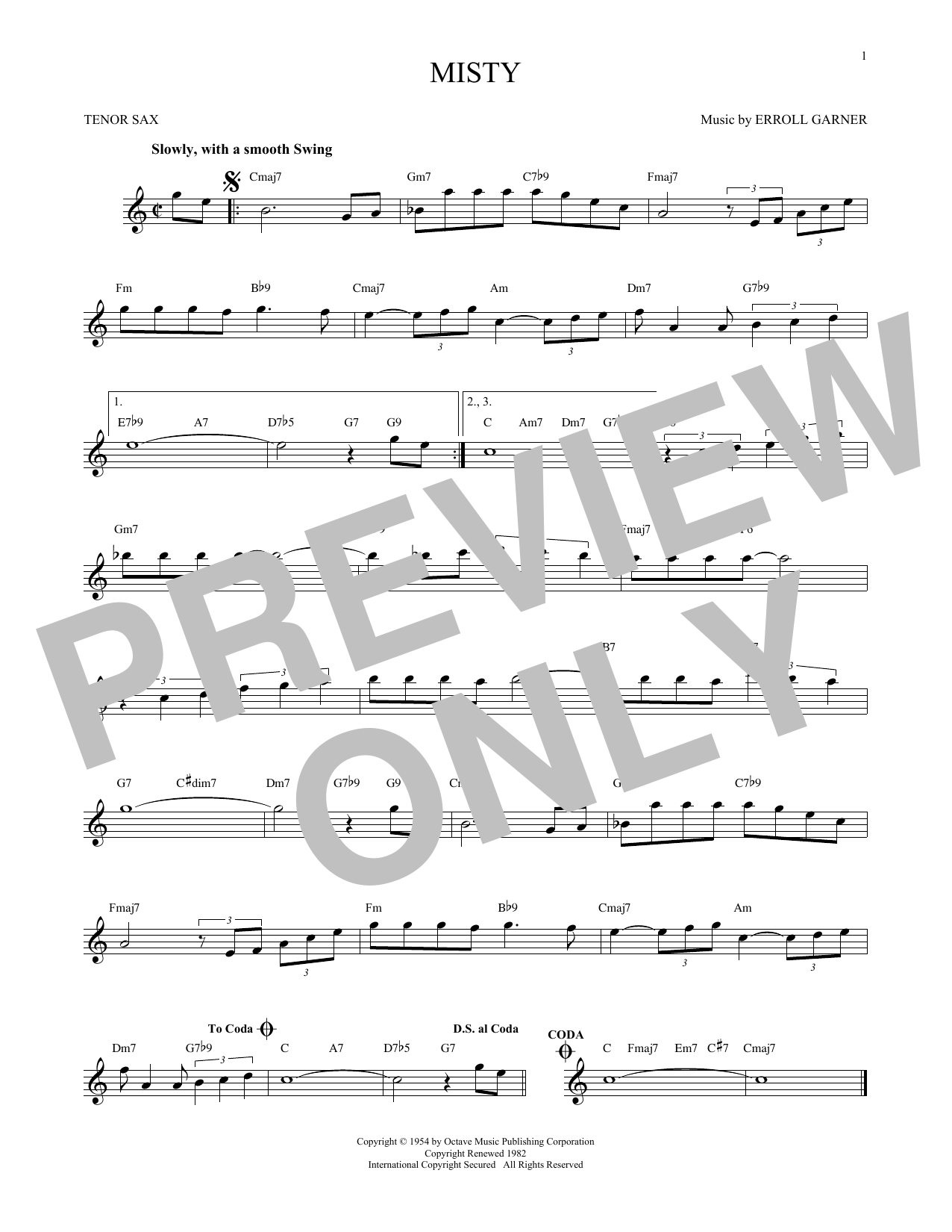 Erroll Garner 'Misty' Sheet Music Notes, Chords | Download Printable Tenor  Sax Solo - SKU: 171409