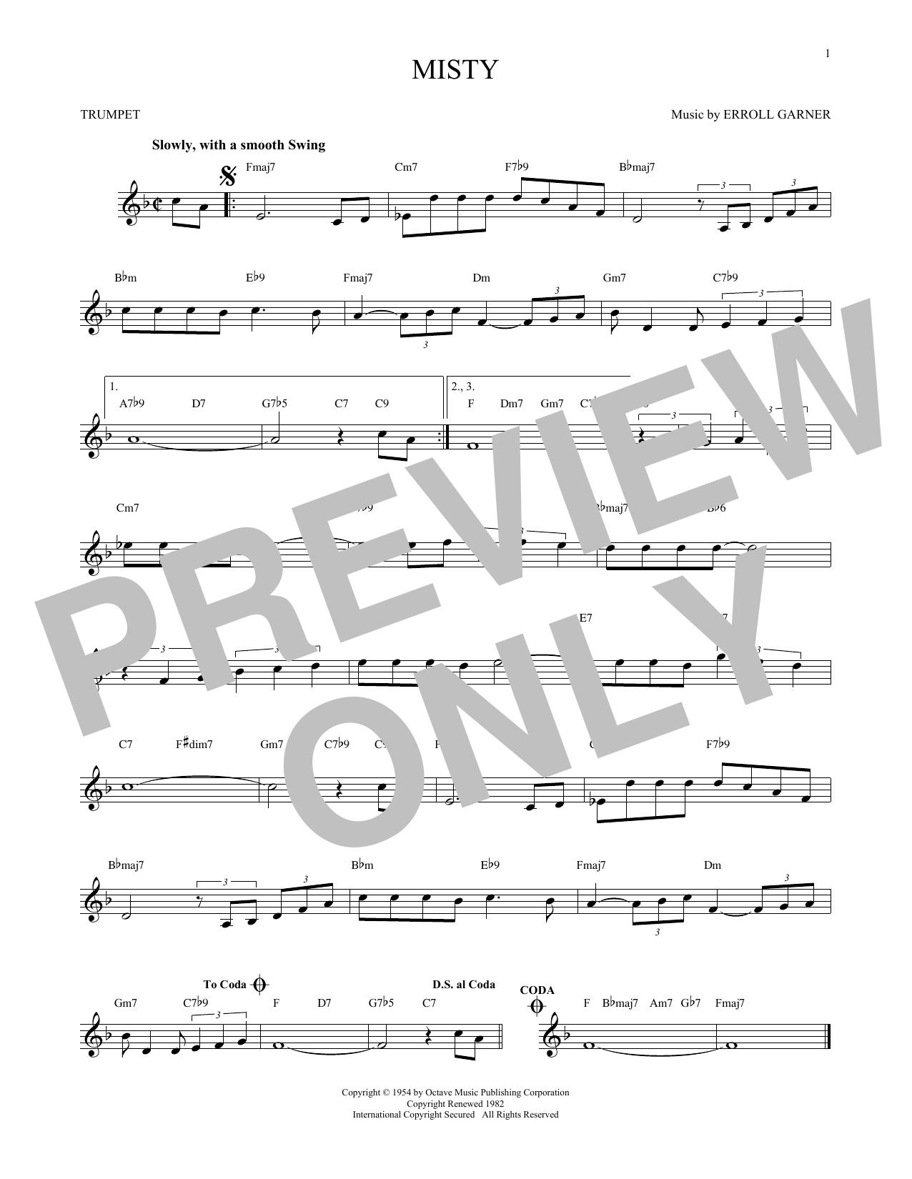 Erroll Garner 'Misty' Sheet Music Notes, Chords | Download Printable  Trumpet Solo - SKU: 171416