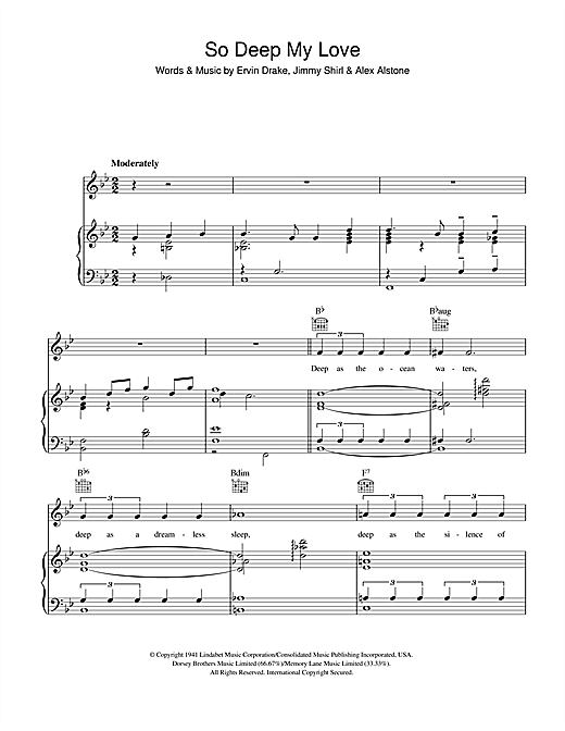 Ervin Drake So Deep My Love sheet music notes and chords. Download Printable PDF.
