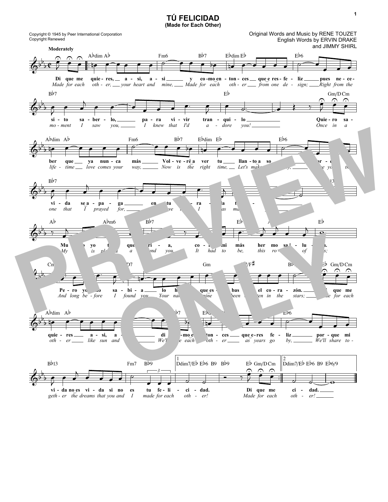 Ervin Drake Tu Felicidad (Made For Each Other) sheet music notes and chords