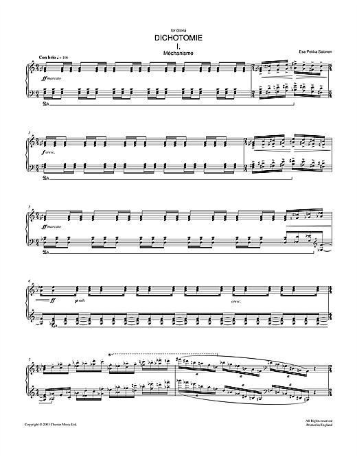 Esa-Pekka Salonen Dichotomie I - Méchanisme sheet music notes and chords. Download Printable PDF.