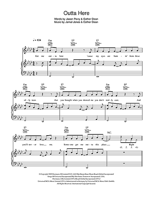 Esme Denters Outta Here sheet music notes and chords. Download Printable PDF.