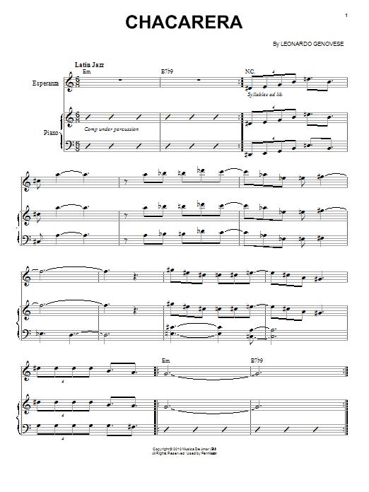 Esperanza Spalding Chacarera sheet music notes and chords. Download Printable PDF.