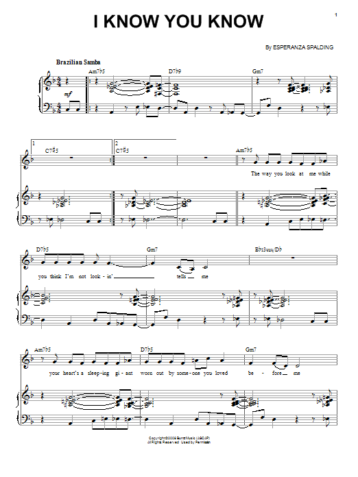 Esperanza Spalding I Know You Know sheet music notes and chords. Download Printable PDF.