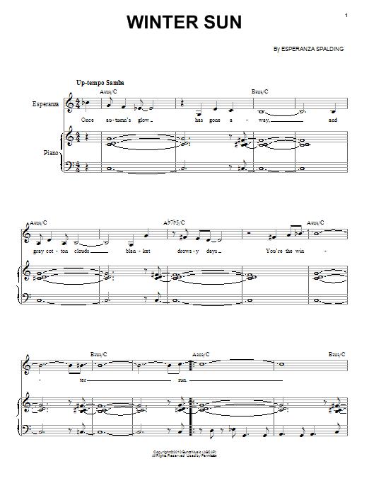 Esperanza Spalding Winter Sun sheet music notes and chords. Download Printable PDF.