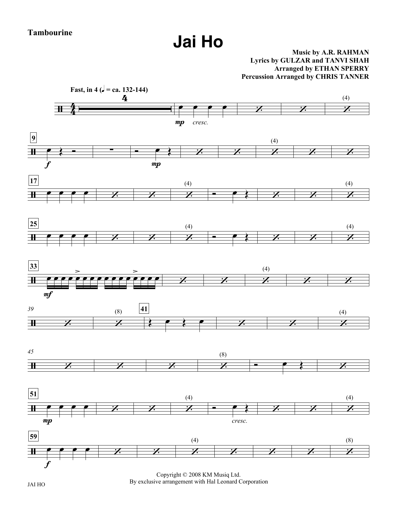 Ethan Sperry Jai Ho - Tambourine sheet music notes and chords. Download Printable PDF.