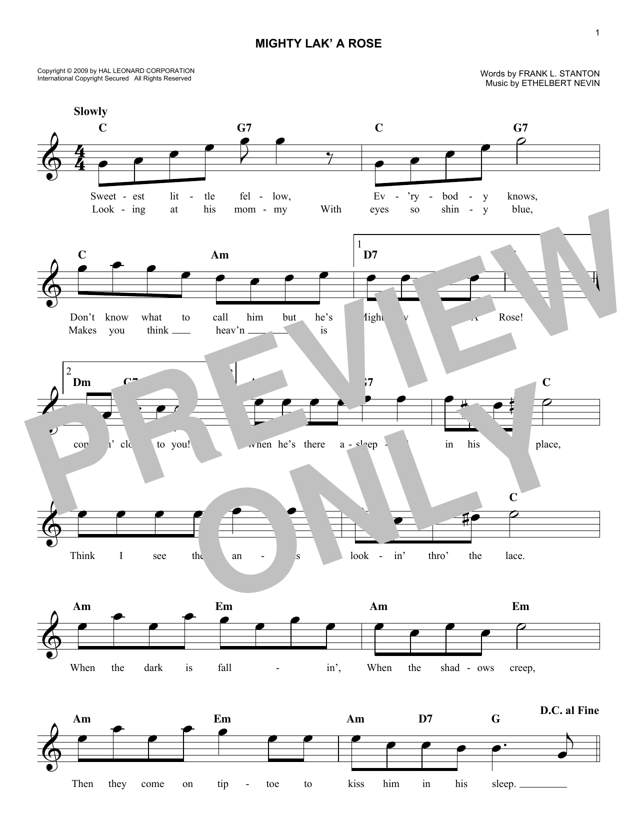 Ethelbert Nevin Mighty Lak' A Rose sheet music notes and chords. Download Printable PDF.