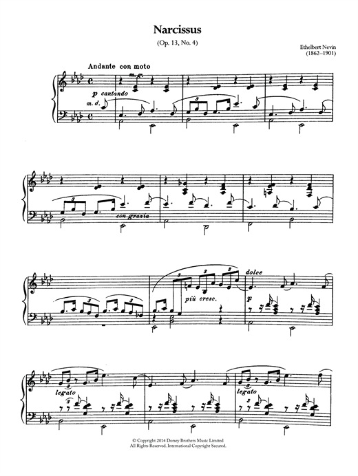Ethelbert Nevin Narcissus (Op.13 No.4) sheet music notes and chords