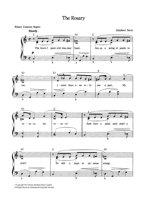 Ethelbert Nevin The Rosary sheet music notes and chords