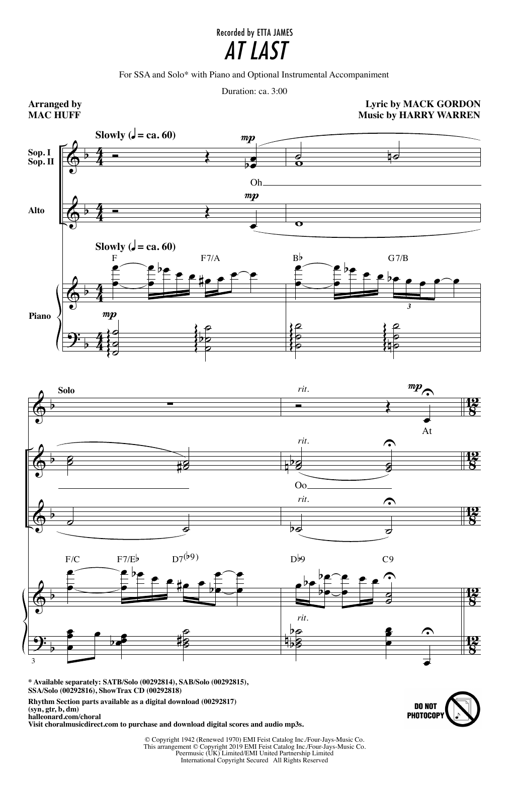 Etta James At Last (arr. Mac Huff) sheet music notes and chords. Download Printable PDF.