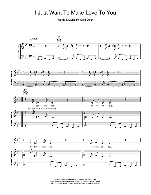 Etta James I Just Want To Make Love To You sheet music notes and chords