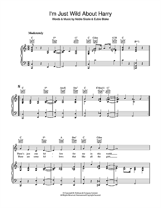 Eubie Blake I'm Just Wild About Harry sheet music notes and chords. Download Printable PDF.
