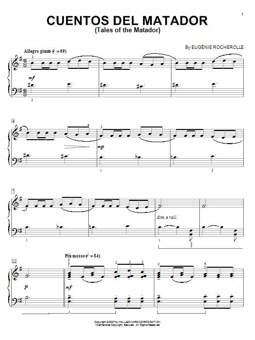 Eugénie Rocherolle Cuentos Del Matador (Tales Of The Matador) sheet music notes and chords. Download Printable PDF.