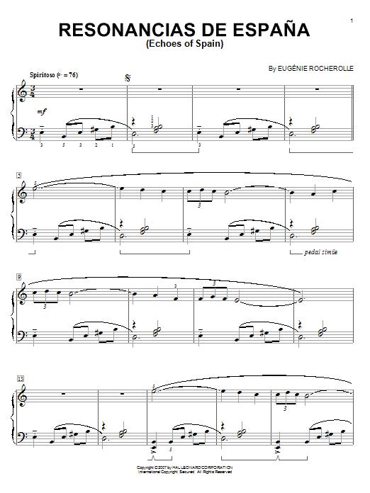 Eugénie Rocherolle Resonancias De Espana (Echoes Of Spain) sheet music notes and chords