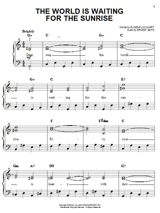 Eugene Lockhart The World Is Waiting For The Sunrise sheet music notes and chords