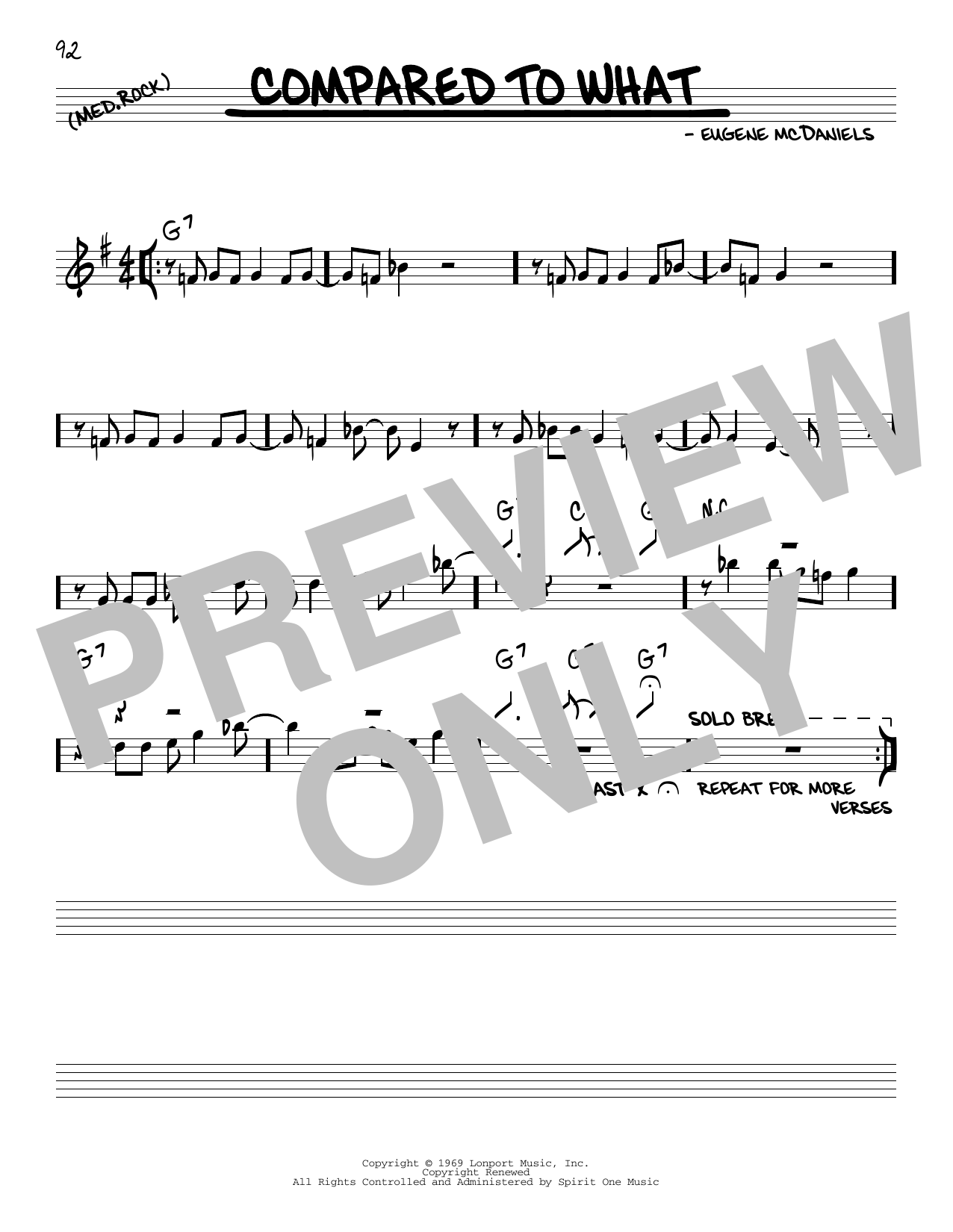 Eugene McDaniels Compared To What sheet music notes and chords. Download Printable PDF.