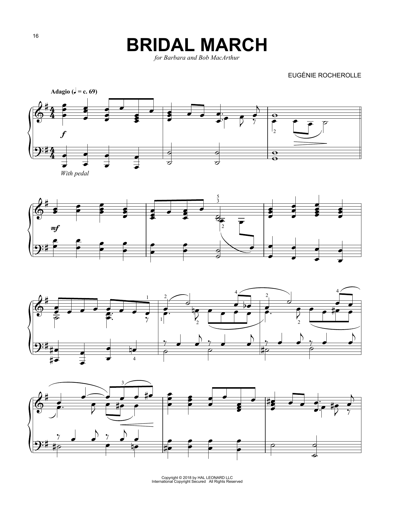 Eugenie Rocherolle Bridal March sheet music notes and chords