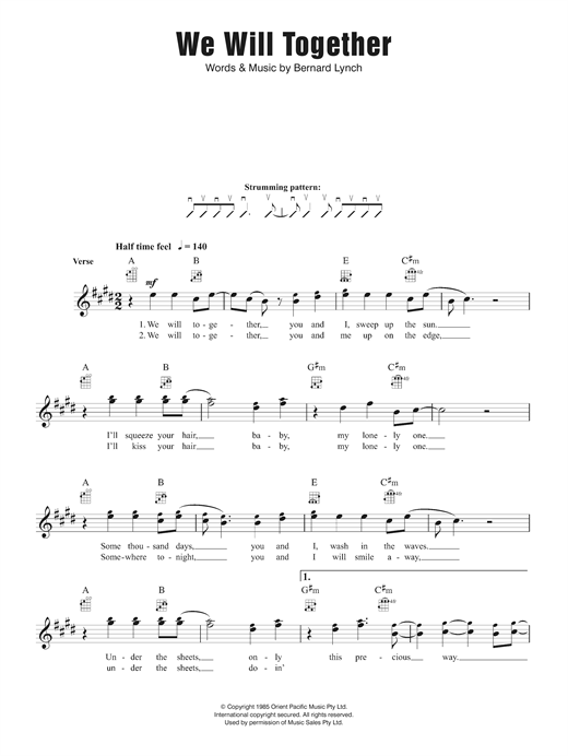 Eurogliders We Will Together sheet music notes and chords. Download Printable PDF.