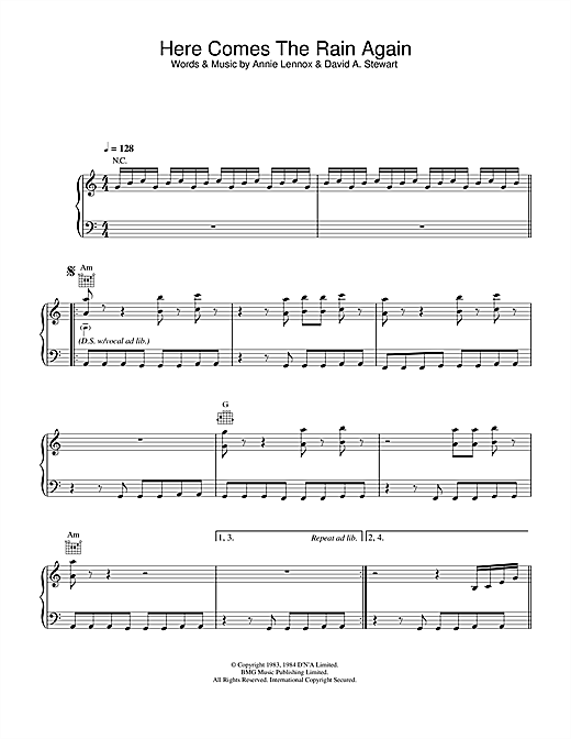 Eurythmics Here Comes The Rain Again sheet music notes and chords. Download Printable PDF.