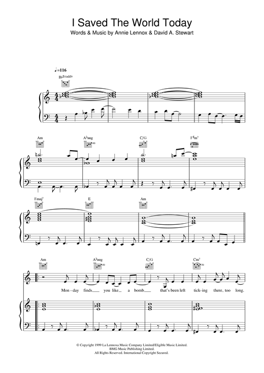 Eurythmics I Saved The World Today sheet music notes and chords. Download Printable PDF.