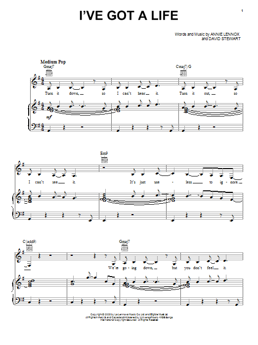 Eurythmics I've Got A Life sheet music notes and chords. Download Printable PDF.