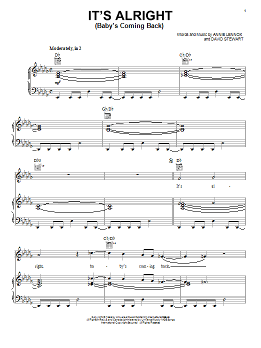Eurythmics It's Alright (Baby's Coming Back) sheet music notes and chords. Download Printable PDF.