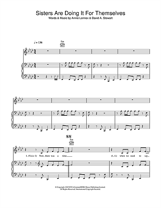 Eurythmics Sisters Are Doing It For Themselves sheet music notes and chords. Download Printable PDF.