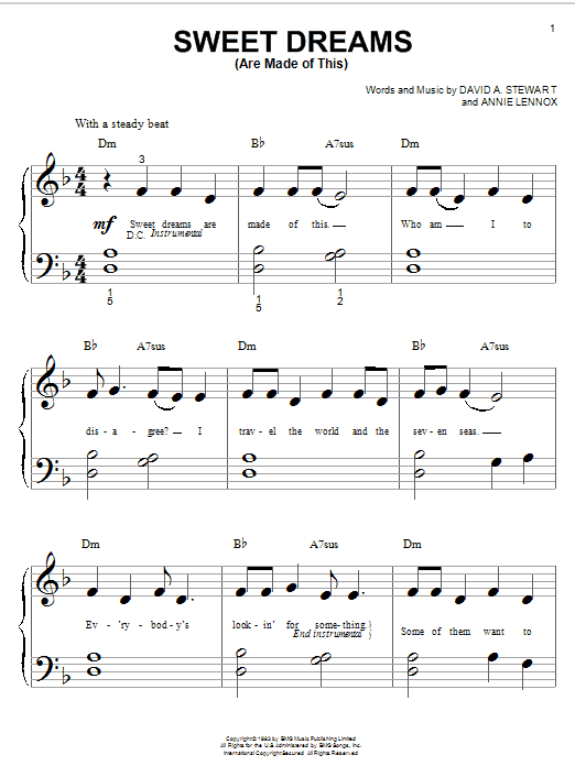 Eurythmics Sweet Dreams (Are Made Of This) sheet music notes and chords. Download Printable PDF.