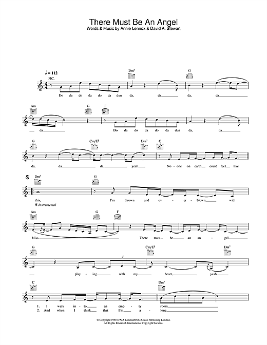 Eurythmics There Must Be An Angel (Playing With My Heart) sheet music notes and chords