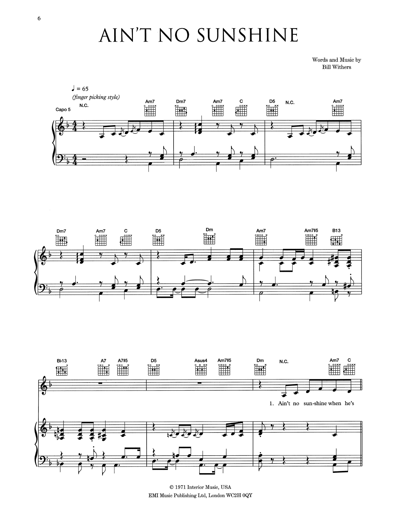 Eva Cassidy Ain T No Sunshine Sheet Music Pdf Notes Chords Pop Score Piano Vocal Guitar Right Hand Melody Download Printable Sku 445285 0 ratings0% found this document useful (0 votes). eva cassidy ain t no sunshine sheet music notes chords download printable piano vocal guitar right hand melody pdf score sku 445285