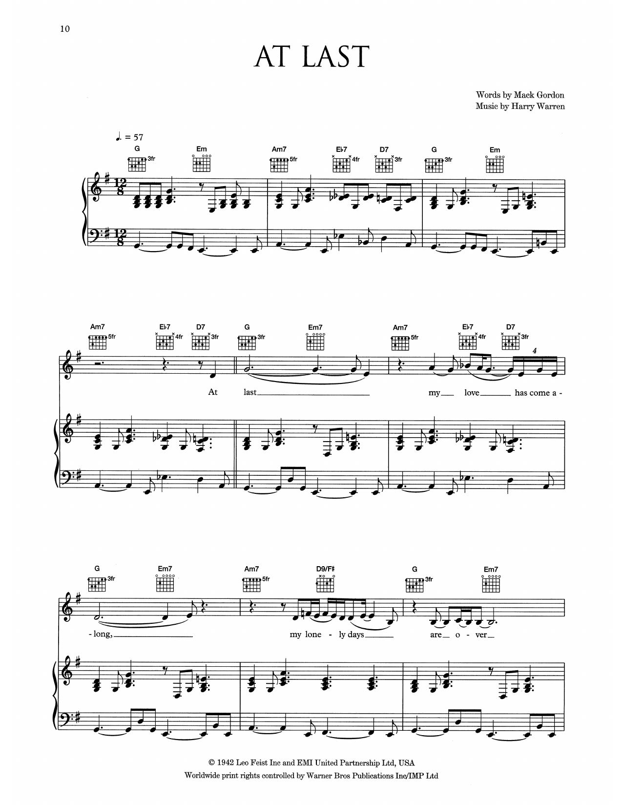 Eva Cassidy At Last sheet music notes and chords