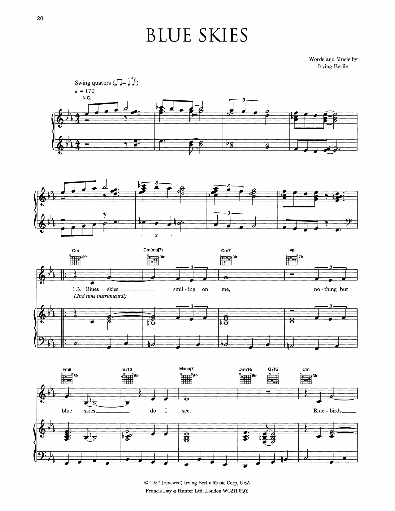Eva Cassidy Blue Skies sheet music notes and chords