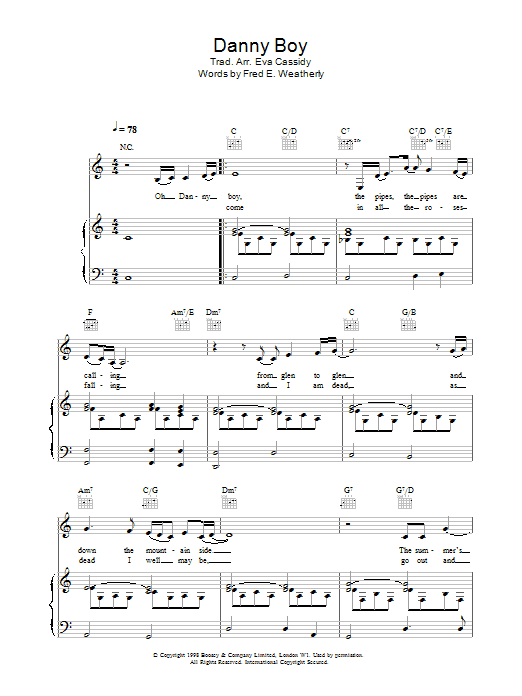 Eva Cassidy Danny Boy (Londonderry Air) sheet music notes and chords. Download Printable PDF.
