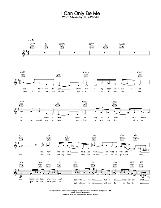 Eva Cassidy I Can Only Be Me sheet music notes and chords. Download Printable PDF.