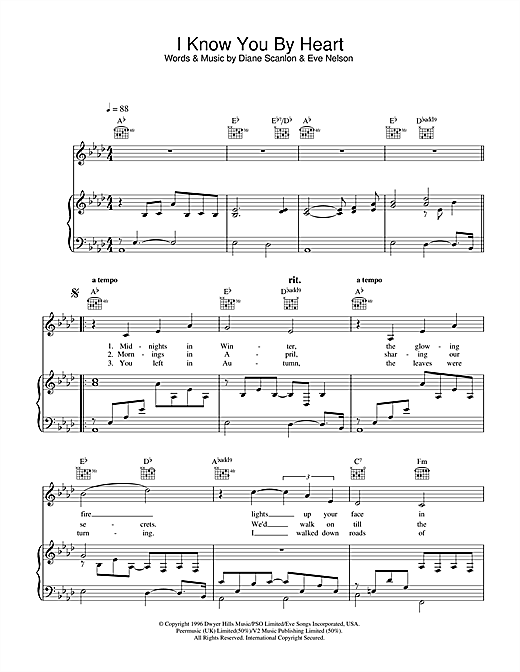 Eva Cassidy I Know You By Heart sheet music notes and chords. Download Printable PDF.