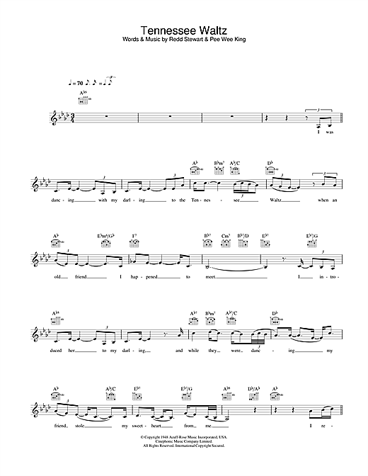 Eva Cassidy Tennessee Waltz sheet music notes and chords. Download Printable PDF.