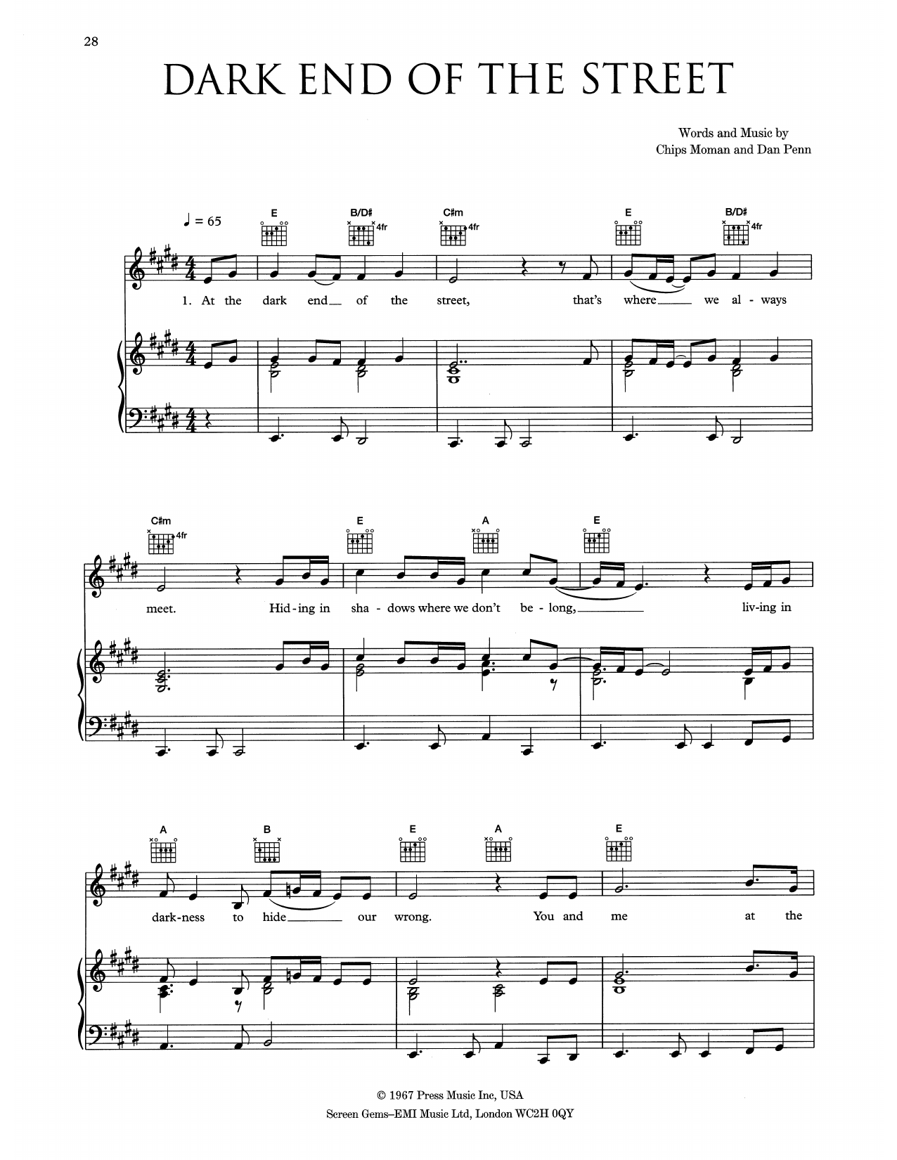 Eva Cassidy The Dark End Of The Street sheet music notes and chords