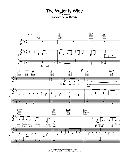 Eva Cassidy The Water Is Wide sheet music notes and chords. Download Printable PDF.