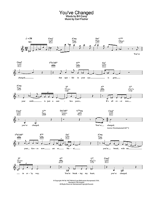 Eva Cassidy You've Changed sheet music notes and chords. Download Printable PDF.