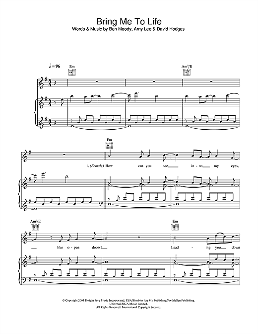 Evanescence Bring Me To Life sheet music notes and chords. Download Printable PDF.