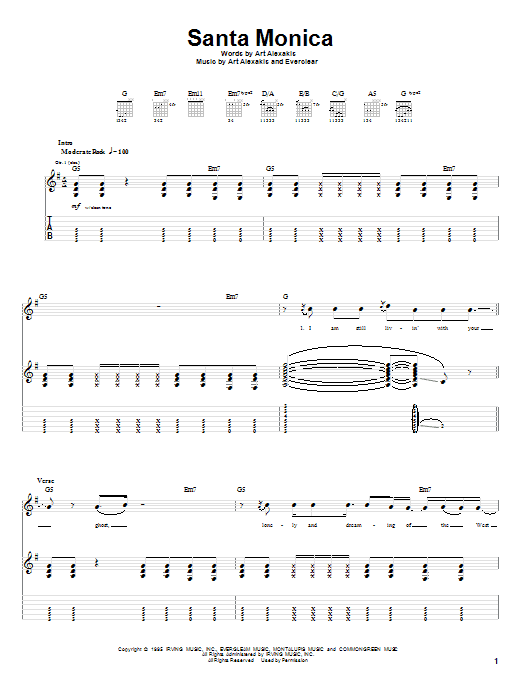 Everclear Santa Monica sheet music notes and chords. Download Printable PDF.