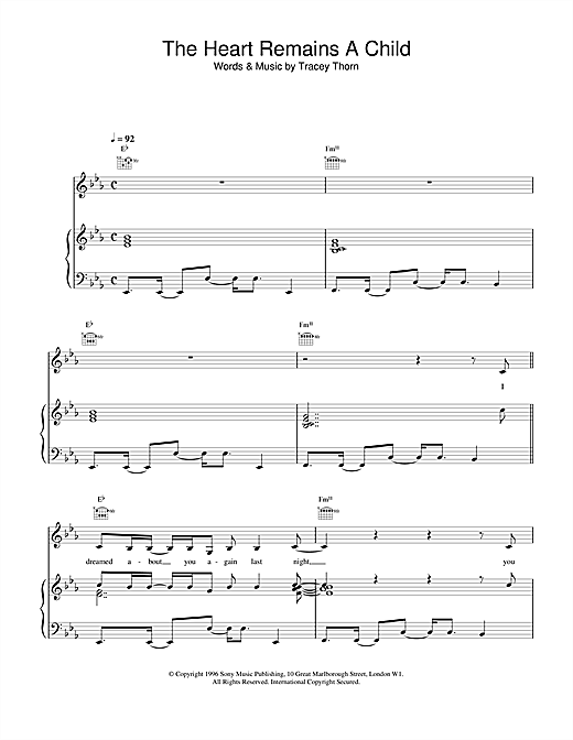Everything But The Girl The Heart Remains A Child sheet music notes and chords